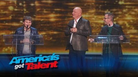 Drew Lynch and Gary Vider Comedians Perform with Jeff Ross - America's Got Talent 2015 Finale
