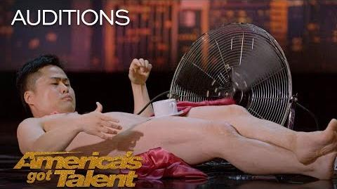 Wes-P Naked Man Attempts Teacup And Tablecloth Trick - America's Got Talent 2018