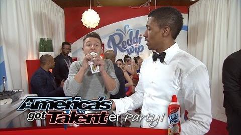Reddi-Wip After Party Nick Cannon Balances a Dancer - America's Got Talent 2014 Finale