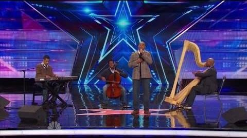 """America's Got Talent S09E03 Sons of Serendip sing """"Somewhere Only We Know"""" by Keane"""