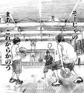 Kenji, Sora and Yasuhara practicing