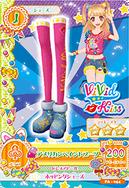 Card zapatos azules con calcetas rosas
