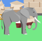 Elephant's look carrying stone