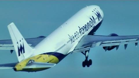STEEP!! Monarch Airbus A300-600 Takeoff at Macnchester (HD1080p)