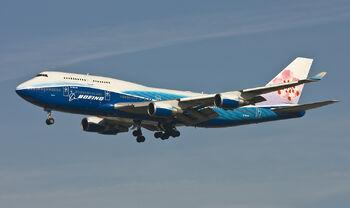 A 747-400 in flight.