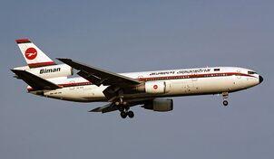 A DC-10 in flight.