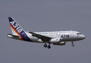 An A318 in flight.