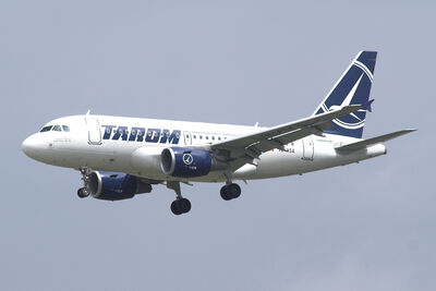 A TAROM A318 in flight.