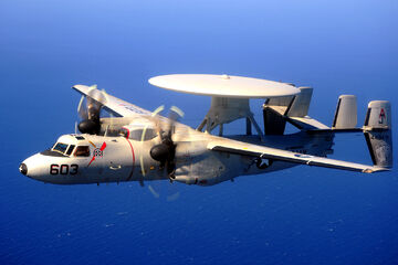 An E-2 Hawkeye in flight.