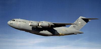 A C-17 Globemaster III in flight.