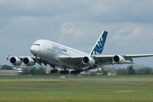 An A380 taking off at the 2007 Paris Air Show.