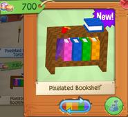 Pixelated bookshelf