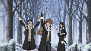 Tatsumi, Ieyasu, Sayo leaving their village