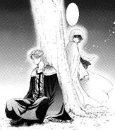 Yona habla con Tae-Jun bajo un árbol