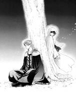 Kan Tae-Jun and Yona talk under the tree