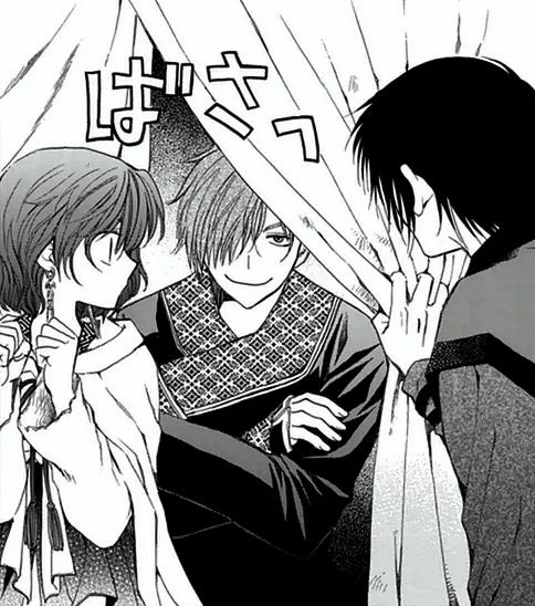 Jae-Ha spying on Hak and Yona in the tent.png