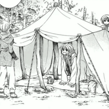 Yoon unveils the group's new tent.png