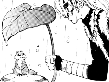 Shin-Ah covers Ao with a leaf during a rain.png