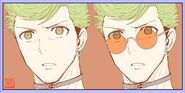 Hoodlum with and without glasses Rokurou Ogaki