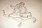Disney's Aladdin - Sketch of Aladdin and Jasmine by John Alvin