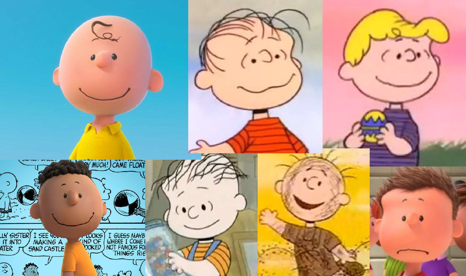 Charlie Brown, Linus, Schroeder, Franklin, Rerun, Pigpen and Shermy