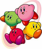 four different coloured Kirbies