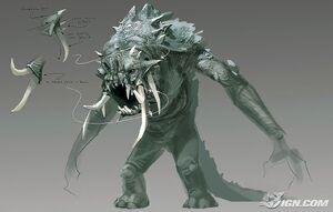 Concept art of a Bull Rancor.