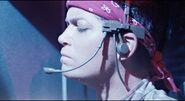 Vasquez wears headset