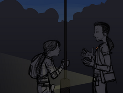 Bina and Sam outside of the factory.png