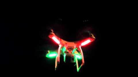 DJI Phantom Drone Flying At Night