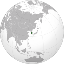 Localización de Corea del Sur