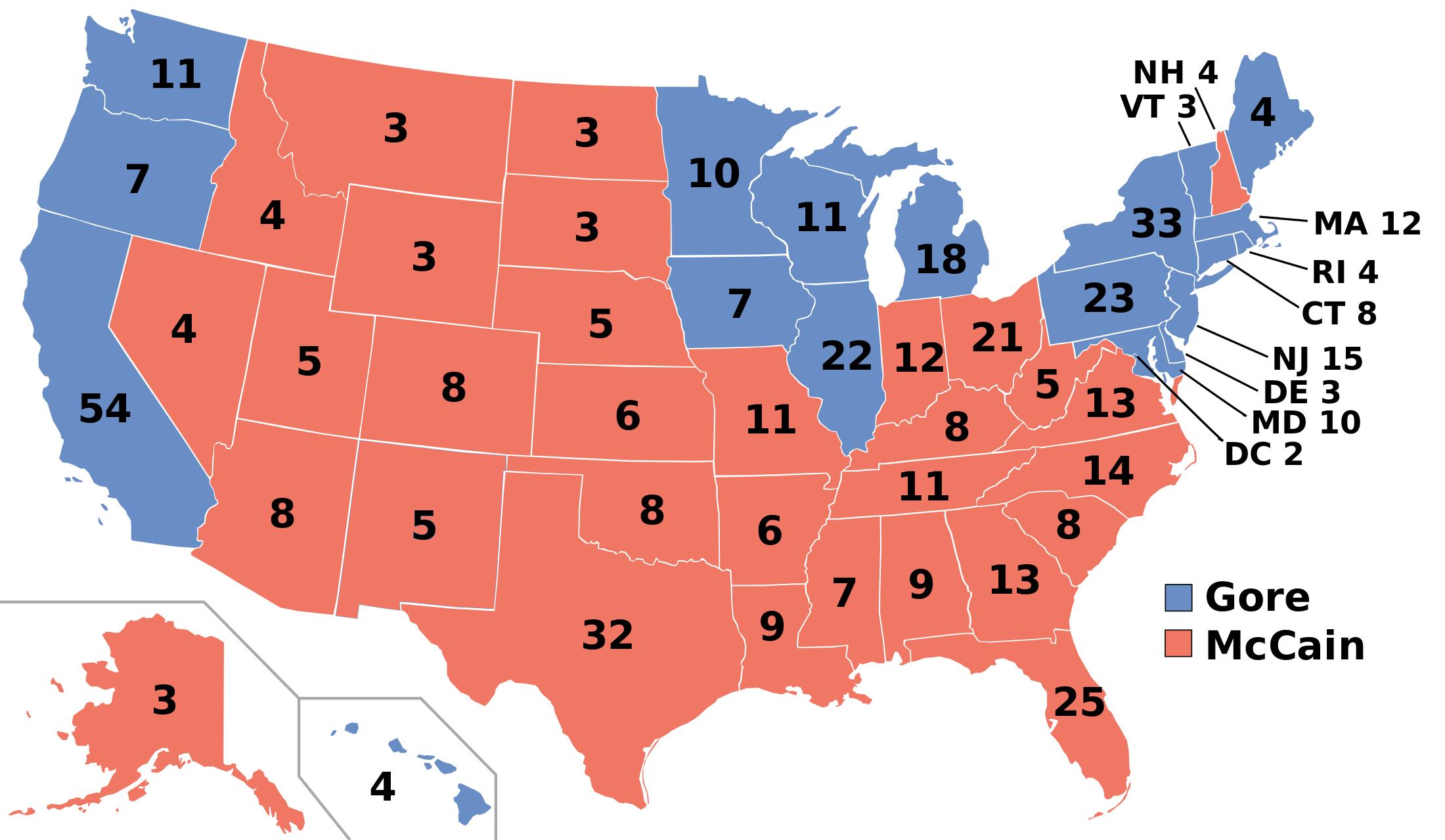 Elecciones Presidenciales de Estados Unidos de 2000 (Chile No Socialista)