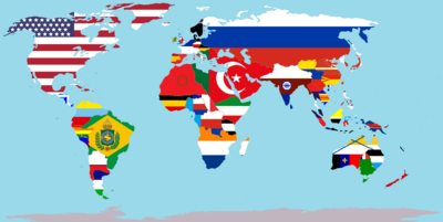 World Political Map with Nations Overlaid on Their Flags (A World of Difference).png
