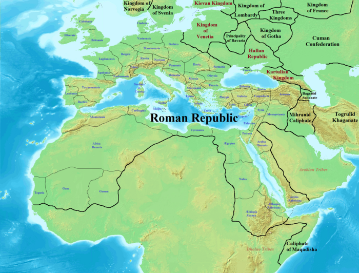 Roman Republic and surrounding kingdoms in 1147 CE