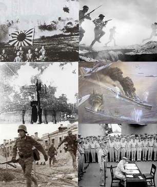 Japanese forces at the Battle of Wuhan, British forces at El Alamein, USA airplanes bombing Osaka, USA airplanes at the Battle of Midway, German forces at The Battle of Stalingrad, and Douglas MacArthur sings USA surrender to Japan