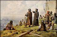 Josef Mathauser - Jan Žižka s knězem Václavem Korandou roku 1420 hledí s Vítkova na Prahu