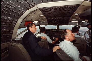 President Reagan sitting with the crew of Air Force One Mar 16 1982.jpg