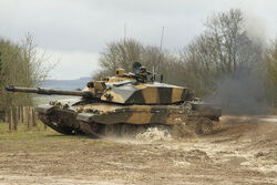 A Challenger II Tank leaving HQ at Sailsbury Plain, headed for Devizes