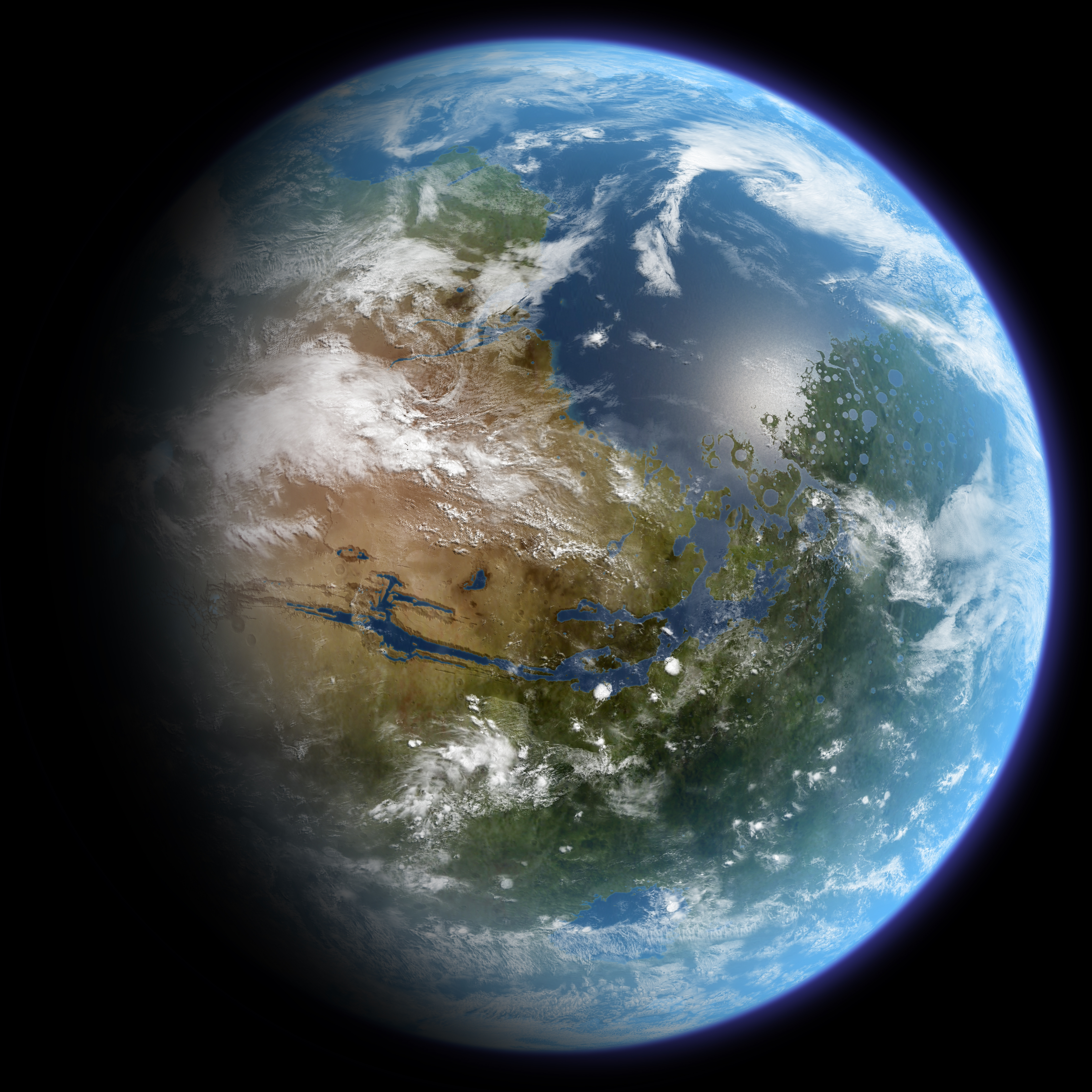 Blue Earth and Green Mars