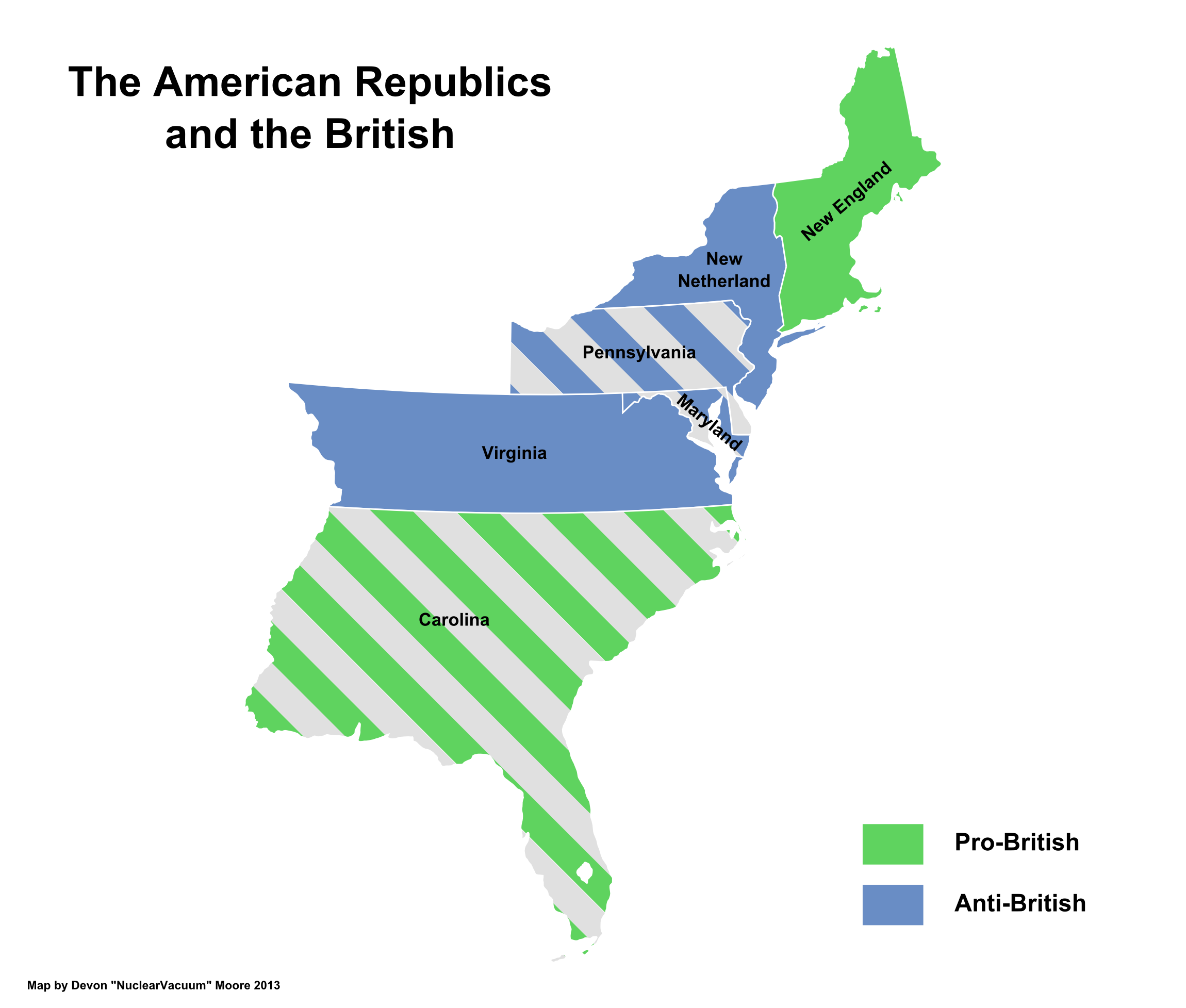 Map of the American Republics by relations with the United Commonwealth (13 Fallen Stars).png
