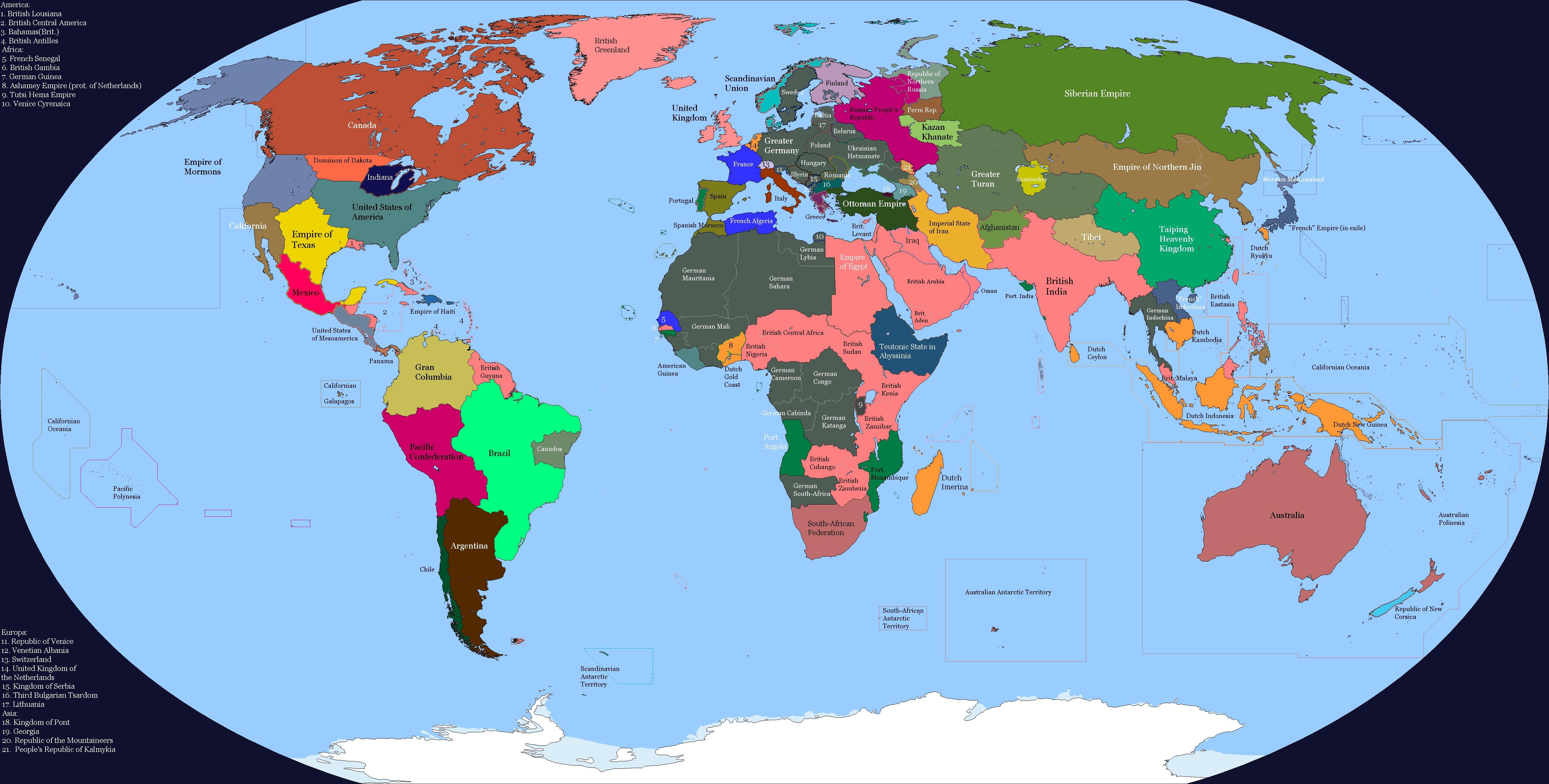 Мир иной Англо-Американской войны (карта)