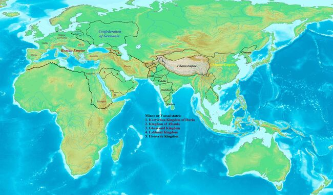 World of Superpowers in the 7th century