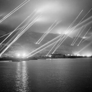 Searchlights on the Rock of Gibraltar, 1942.jpg