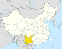 Location of Yunnan
