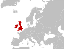 Location of United Kingdom of British Isles