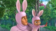 Alvin and Dave dressed as rabbits