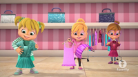 The Chipettes Holding Dresses