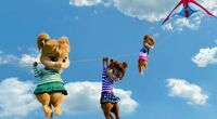 The Chipettes hanging on to the kite string