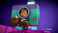 Theodore clutching a teddy bear while dressed as a camera