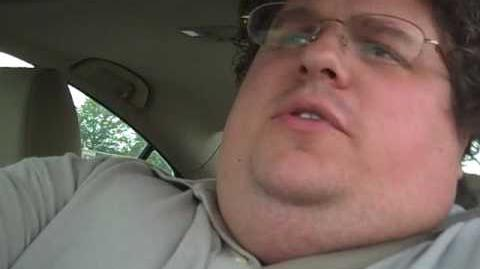 Fat guy in stupid car with heavy traffic and fun